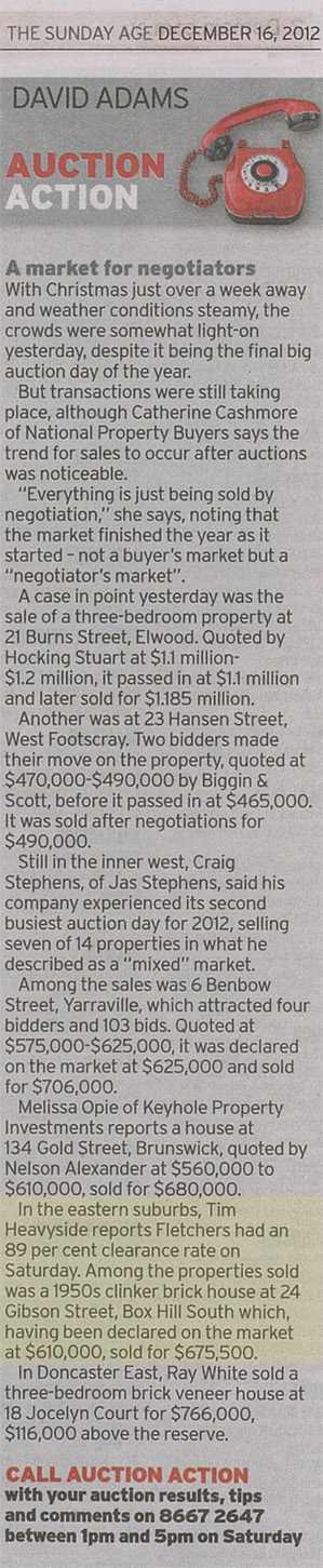 Sunday Age_Auction Action_16 December 2012